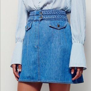 Free People Braided Baby Jean Skirt
